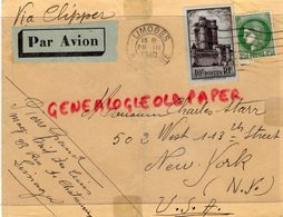 AMERIQUE- ENVELOPPE BY CLIPPER AVION  CHARLES STARR 502 WEST 113 TH STREET- NEW YORK- USA - LIMOGES 1940- - 1921-1960: Modern Tijdperk