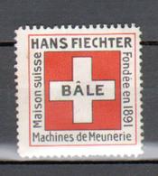Erinophilie, Suisse, Vignette Hans Fiechter, Bale Machines De Meunerie - Switzerland