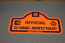 Rally Plaat-rallye Plaque Plastic: 33e KNAC Herfsttocht OFFICIAL Tilburg Totaal GM General Motors - Plaques De Rallye