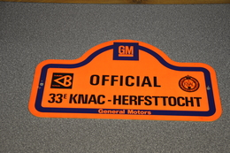 Rally Plaat-rallye Plaque Plastic: 33e KNAC Herfsttocht OFFICIAL Tilburg Totaal GM General Motors - Rallye (Rally) Plates