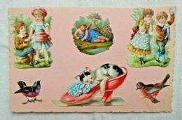 CPA Fantaisie Découpis Enfants/Chat/Oiseaux - Fancy Cards