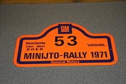 Rally Plaat-rallye Plaque Plastic: Minijto-rally Maison Van Den Boer Veghel GM General Motors - Plaques De Rallye