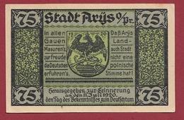 Allemagne 1 Notgeld 75 Pfenning Stadt Arys (Pologne --Orzysz) Dans L 'état Lot N °5864 - [ 3] 1918-1933 : République De Weimar