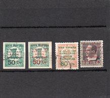 Espagne,années 1936-37 Surchargés PA  Série De 5 Valeurs N°116 ,119 Non Dentelés , N°120,N°118A Oblitérés N°121* - Used Stamps