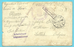 "Foto-kaart Van ""Camp Des Travailleus""  / Stempel ARBEITSLAGER / LUGUMKLOSTER ,stempel PARCHIM Naar LUTTICH - Weltkrieg 1914-18"