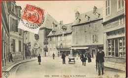 CPA 12- RODEZ- Aveyron- Place De La Préfecture- -animée - Commerces Voyagée 1909  -scans Recto Verso- Paypal Sans Frais - Rodez