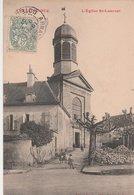 ARNAY-le-DUC. L'Eglise St-Laurent, Rue Animée. Ecriture Rouge - Arnay Le Duc
