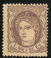 España Edifil 102 (*) Mng  1 Mill. Escudos Violeta  Alegoría España 1870  NL1411 - 1868-70 Gobierno Provisional