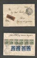 CZECHOSLOVAKIA. 1928 (28 March) Bratislava - Kosice (29 March) Reverse Multifkd Envelope. Express Service, Pink Label. V - Czechoslovakia