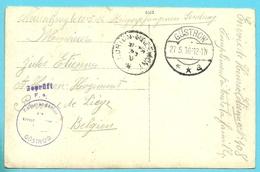Foto-kaart Van GUSTROW Met Stempel GEPRUFT Naar Horion-Hozémont - Weltkrieg 1914-18