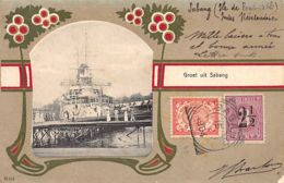 Indonesia - SABANG - Dutch Warship In Harbour - Art Nouveau Border - Publ. J. Alberti 215. - Indonésie