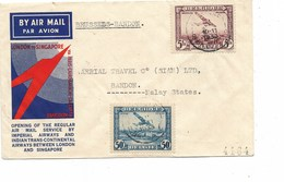 SH 0408. PA 1-4 BRUXELLES 1 - 9.XII.1933 S/L. 1er Vol IMPERIAL AIRWAYS LONDRES-SINGAPOUR,de BXL à BANDON.v. Dos.Vdb 128. - Poste Aérienne
