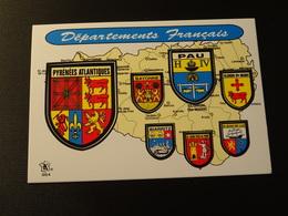CPSM Blason écusson Adhésif Autocollant Pyrénées Atlantiques Pau , Bayonne, Oloron  Aufkleber Wappen Coat  Arms Sticker - Obj. 'Remember Of'
