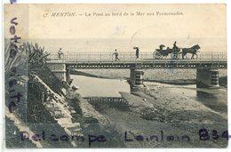 - 17 - MENTON - Le Port - Aux Bords De La Mer Aux Promenades, Calèche,  Vélo, Cliché Rare, écrite, 1915, TBE, Scans. - Menton