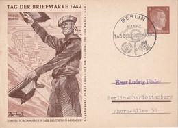 ALLEMAGNE      1942   ENTIER POSTAL/GANZSACHE/ POSTAL STATIONERY  CARTE ILLUSTREE DE  BERLIN  TAG DER BRIEFMARKE - Postwaardestukken