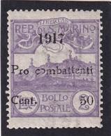 Saint Marin - 1917 - Y.T. N°51 - 50 C. Sur 2 L. Violet (n°44) - Au Profit Des Combattants - NEUF** - TTB Etat - Nuevos