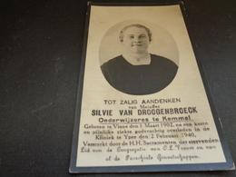Doodsprentje ( 649 )   Van Droogenbroeck Onderwijzeres Te Kemmel -  Viane  Yper  Ypres  Ieper    1940 - Obituary Notices