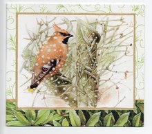 DOUBLE POSTCARD - MARJOLEIN BASTIN - BIRD / WAXWING - USED - CHRISTMAS - GLITTER - HALLMARK - Altri