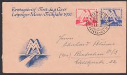 """Leipziger Messe 1950 SoSt. Ersttagsstempel Petershof, """"MM"""" Vor Industrielandschaft DDR 282/83 - FDC: Buste"""