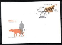 3333 Slowenian Slovenia 2020 FDC Archeological Finds Fossil Mammal Prohyracodon Telleri The Skeleton - Briefmarken