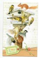 DOUBLE POSTCARD - MARJOLEIN BASTIN - BIRDS / GREAT TITS & SISKIN - USED - CHRISTMAS - LARGE FORMAT HALLMARK - Altri