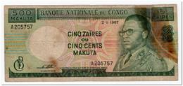 CONGO,500 MAKUTA OR 5 ZAIRES,1967,P.13b,REPAIRED! - Congo