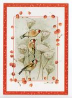 DOUBLE POSTCARD - MARJOLEIN BASTIN - BIRDS / GOLDFINCHES - USED - CHRISTMAS - HALLMARK - GLITTER - Altri