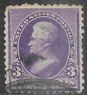 US 1890  Sc#221  3c Jackson Used  2016 Scott Value $9 - 1847-99 General Issues