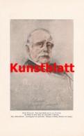 1799 Franz Von Lenbach Fürst Bismarck Portrait Kunstblatt 1897 !! - Estampes