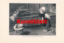 1801 Kaulbach Ich Fang Dich Doch Mädchen Vogel Kunstblatt 1897 !! - Estampes