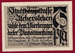 Allemagne 1 Notgeld 75 Pfenning Stadt Aschersleben Dans L 'état Lot N °5884 - [ 3] 1918-1933 : République De Weimar