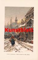 1808 Fehdmer Straße Antwerpen Winterbild Fischmarkt Kunstblatt 1897 !! - Estampes