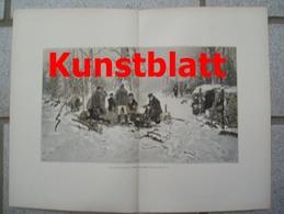 1814 Hugo Mühlig Hessen Holzfäller Holzarbeiter Winter Kunstblatt 1897 !! - Estampes