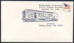 USA 1980 Cover Brief - Washington & Florence - R.P.O. Clercks Reunion, Rocky Mount / Railroad / Eisenbahn - Treinen