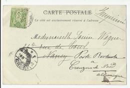 Marcophilie  Timbre 5 C Vert Tours Pour Poste Restante Allemagne Via Nancy 1899 - Marcophilie (Lettres)