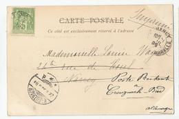 Marcophilie  Timbres 5 C Vert Tours 37 Pour Nancy Réexpédiée Poste Restante Allemagne 1899 - Marcophilie (Lettres)