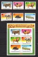 Burundi 1991, Animaux D'Afrique, 972 / 977** + BF 127 A, Cote 60 € - Elefanten