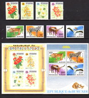 Burundi 1992, Fleurs Et Faune, 982 / 985** + PA 560 / 563 + BF 129 A / 130**, Cote 114 € - Burundi