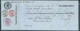 39 + 46 Op Reçu (273,88 Fr) Gestempeld GAND - 7 Oct 1885 - Van Duyn FIls - 1883 Leopold II