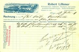 """SOLINGEN Rechnung 1909 Deko """" Robert Löhmer Kolonialwaren Fettwaren Petroleum Kaffeegroßrösterei"""" - Food"""