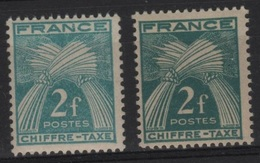 FR/TAX 33 - FRANCE N° 72 Neuf** Variétés 2 Teintes Différentes - Taxes