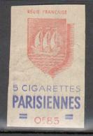 Erinophilie, Vignette De La Regie Francaise, 5 Cigarettes Parisiennes - Autres
