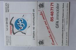 Petit Calendrier 1991 Offert Par  GFA Chalon Sur Saone Monuceau Les Mines - Calendriers