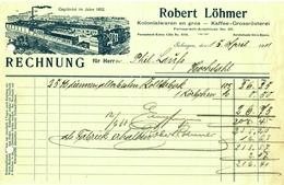 """SOLINGEN Rechnung 1911 Deko """" Robert Löhmer Kaffeegroßrösterei """" - Food"""