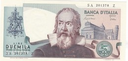 ITALIA BANCONOTA DA LIRE 2000 TIPO GALILEO SERIE SA 201378 Z FDS VARIANTE COLORE AZZURRINO - 2000 Lire