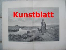 1820 Gagneau Heide Schafe Schafherde Kunstblatt 1897 !! - Estampes