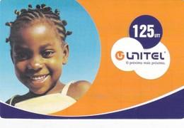 Angola, Unitel 125 UTT, Vitoria, FootbalRecharge Card, Girl, 2 Scans.  Expiry : 2007/04/13 - Angola