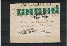 CTN60/4- SUISSE LETTRE BÂLE / PATRAS (GRECE) AVRIL 1915 CENSURE ITALIENNE - Suiza