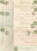Marcophilie  Lot 8 Cpa Cachet 1900 5 C Vert La Bourboule Pour Nancy - Marcophilie (Lettres)