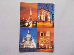 PARIS LA NUIT (75 ) MULTIVUES  TOUR EIFFEL SACRE COEUR ARC DE TRIOMPHE Et NOTRE DAME VOYAGEE - Paris By Night